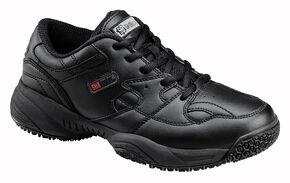 SkidBuster Men's Non-Slip Leather Work Shoes, Black, hi-res