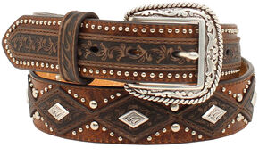 Ariat Diamond Concho Belt, Aged Bark, hi-res