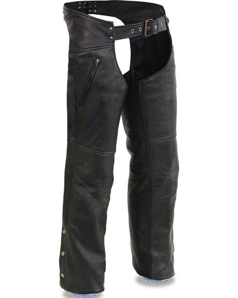 Milwaukee Leather Men's Cool Tec Leather Chaps - 5X, Black, hi-res