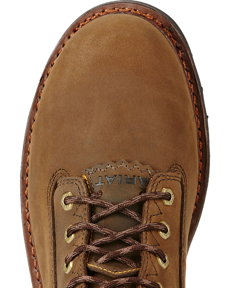 """Ariat Men's Brown Powerline H20 8""""  Lace-Up Work Boots - Composite Toe, Brown, hi-res"""
