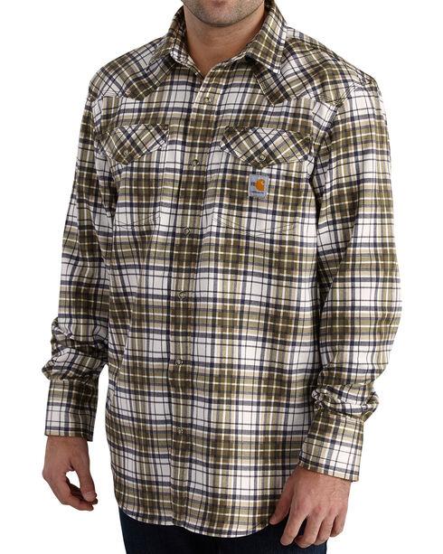 Carhartt Men's Moss Flame-Resistant Snap-Front Plaid Shirt - Tall , Moss Green, hi-res