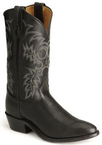 Tony Lama Stallion Leather Americana Cowboy Boots - Medium Toe, Black, hi-res