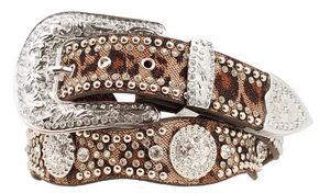 Blazin Roxx Scalloped Leopard Print Embellished Belt, Black, hi-res