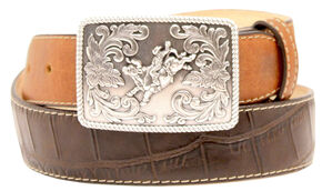 Double Barrel Gator Print Buckle Belt, Brown, hi-res