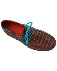 Ferrini Women's Brown Genuine Crocodile Print Shoes - Moc Toe, Brown, hi-res