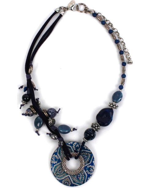 Treska Women's Asymmetric Bead & Cord Necklace, Blue, hi-res