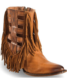 "Dan Post Women's 6"" Caged Fringe Western Booties - Medium Toe, Brown, hi-res"