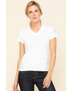 Dovetail Workwear Women's White Solid V-Neck Work Tee, White, hi-res
