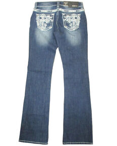Grace In LA Women's White Cross Pocket Embroidered Boot Jeans  , Indigo, hi-res