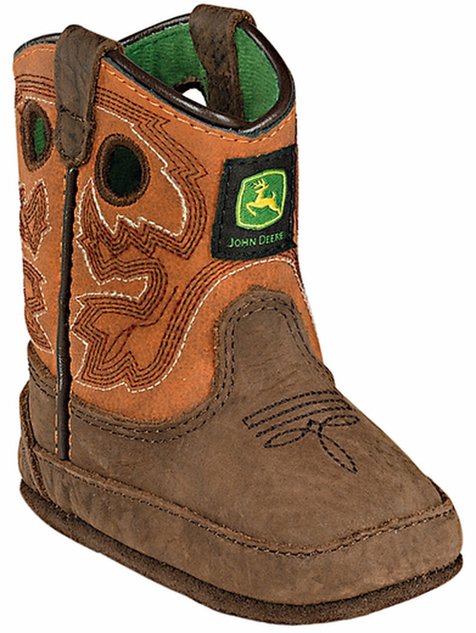 John Deere Infant Boys' Johnny Popper Western Crib Boots, Brown, hi-res
