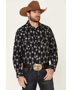 Rock & Roll Denim Men's Black Aztec Print Long Sleeve Western Shirt , Black, hi-res
