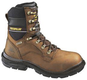 "Caterpillar 8"" Generator Waterproof & Insulated Lace-Up Work Boots - Steel Toe, Dark Brown, hi-res"