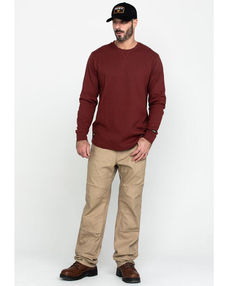 Hawx Men's Red Solid Asphalt Thermal Crew Long Sleeve Work Shirt - Tall , Dark Red, hi-res