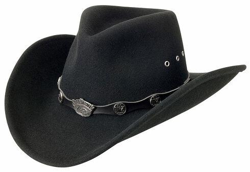 Jack Daniel's Logo Conchos Crushable Wool Felt Cowboy Hat, Black, hi-res