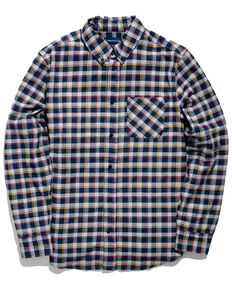 United By Blue Men's Midnight Blue Organic Plaid Long Sleeve Western Flannel Shirt , Blue, hi-res