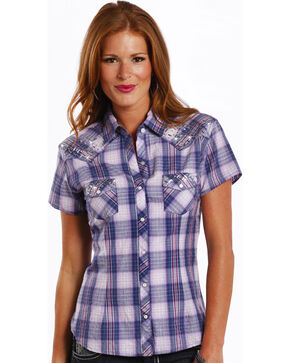 Panhandle Women's Purple Rhinestone Plaid Shirt , Purple, hi-res