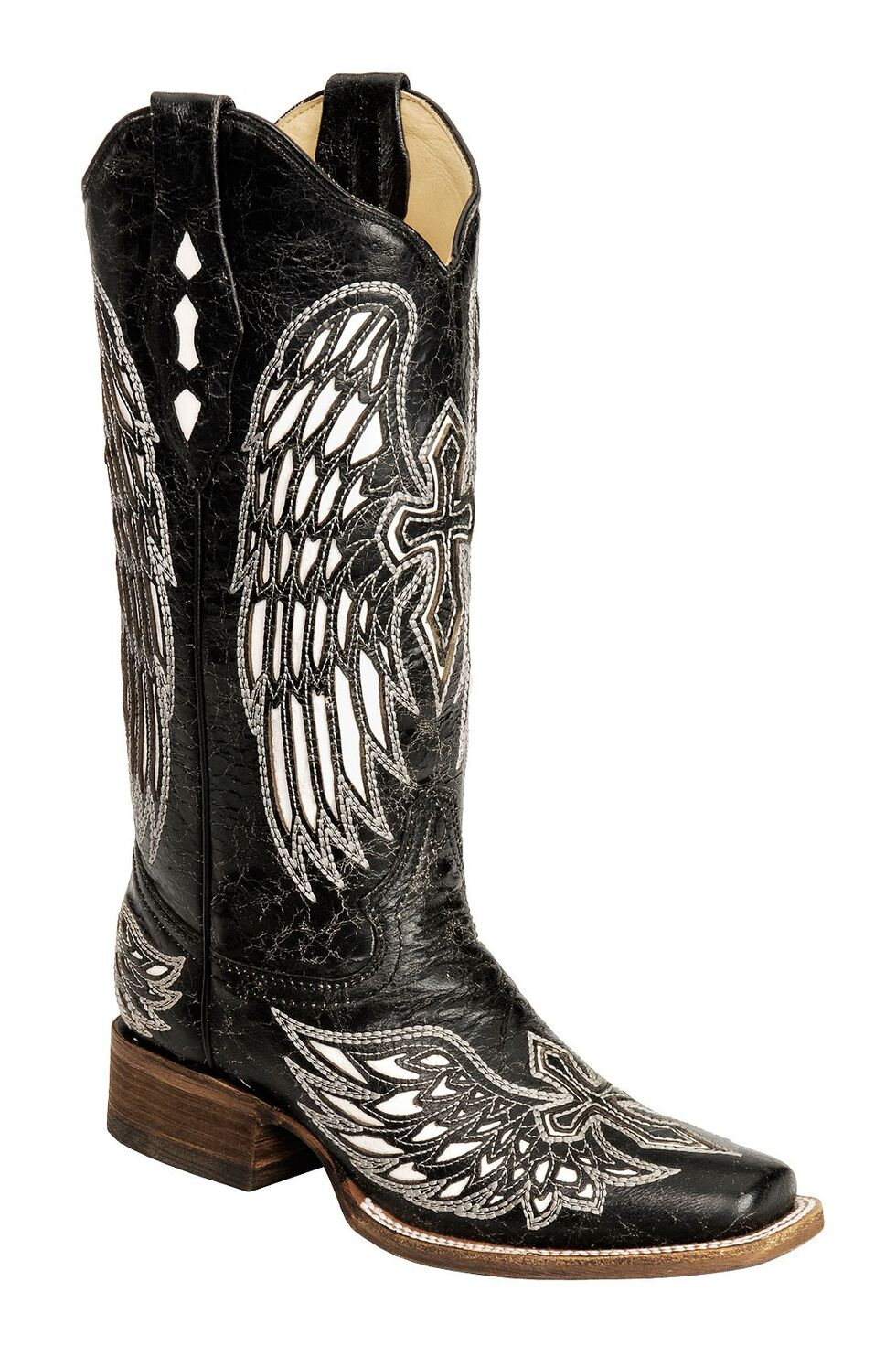 Corral Distressed Black with White Cross & Wing Inlay Cowgirl Boots - Square Toe, Black, hi-res