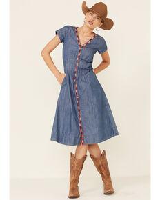 Stetson Women's Embroidered Denim Dress, Blue, hi-res