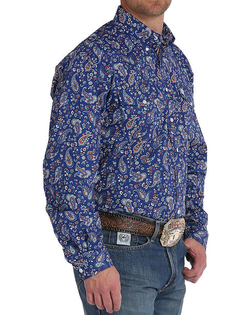 Cinch Men's Navy Paisley Print Double Pocket Button Down Shirt, Navy, hi-res