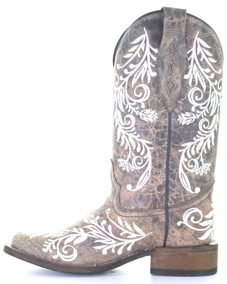 Corral Women's White Embroidery Glow Western Boots - Square Toe, Brown, hi-res