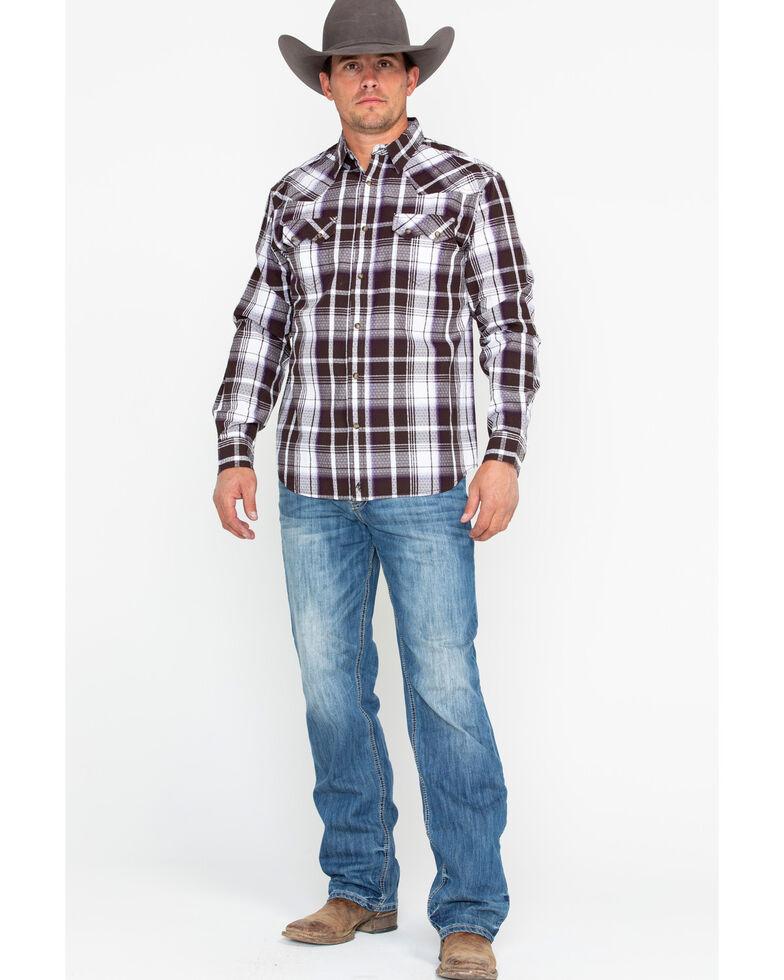 Moonshine Spirit Men's Haywire Plaid Long Sleeve Western Shirt, Brown, hi-res