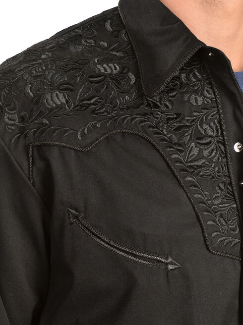Scully Floral Embroidery Black Retro Western Shirt, Jet Black, hi-res