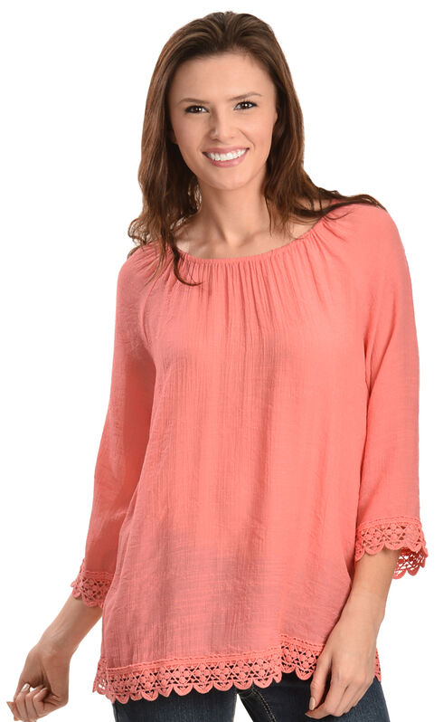 Red Ranch Coral Lace Peasant Top, Coral, hi-res