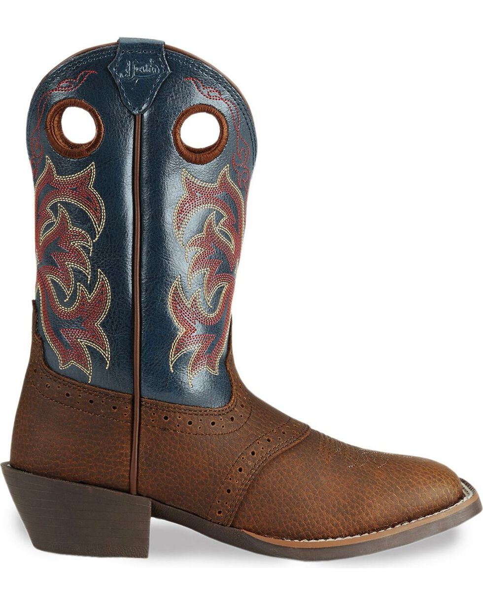 Justin Youth Boys' Junior Stampede Cowboy Boots - Square Toe, Dark Brown, hi-res