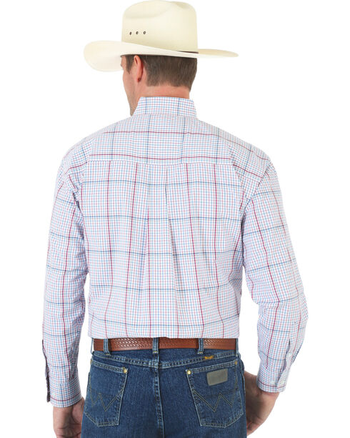 Wrangler George Strait White and Wine Plaid Poplin Shirt , White, hi-res