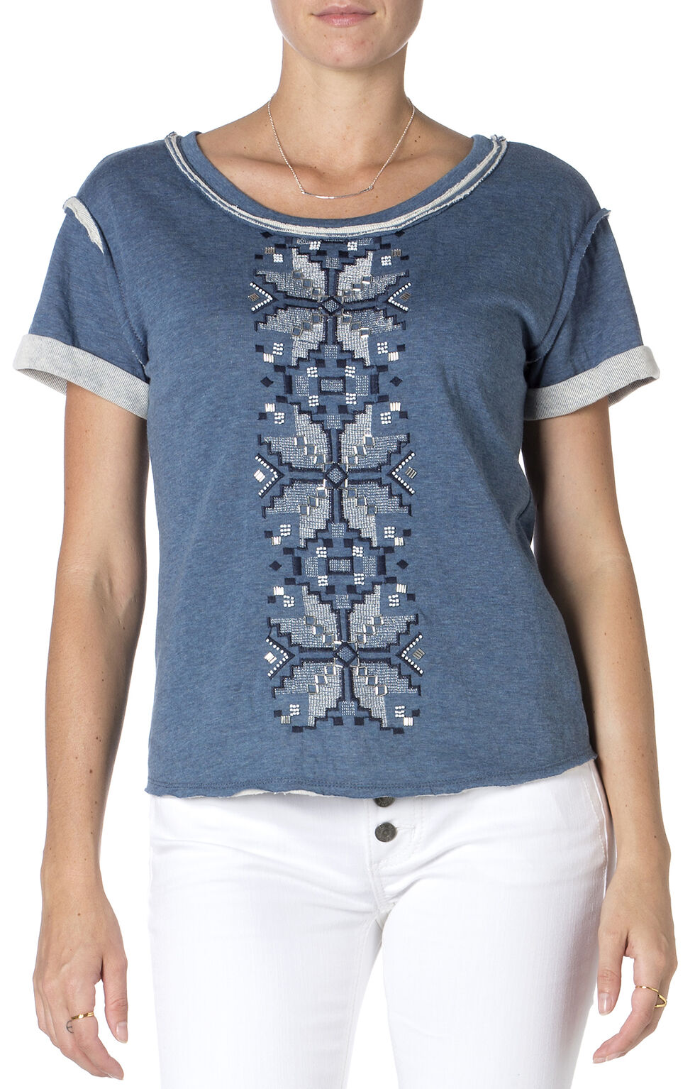 Miss Me Blue Embroidered Short Sleeve Shirt , Blue, hi-res