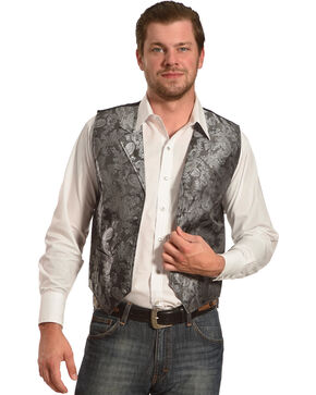 Cody James Men's Paisley Print Western Vest , Silver, hi-res