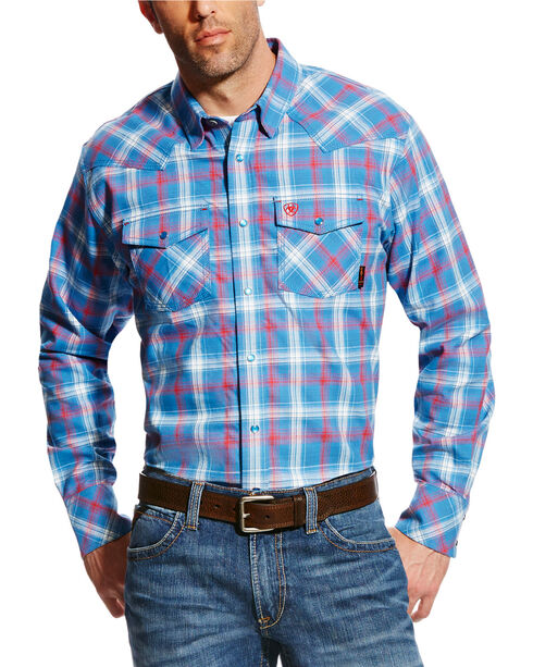 Ariat Men's FR Manning Retro Long Sleeve Plaid Shirt, Blue, hi-res