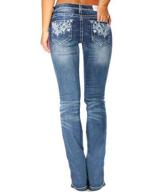 Grace in LA Women's Indigo Diamond Pocket Boot Cut Jeans - Plus, Indigo, hi-res