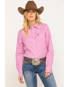 Cinch Women's Pink Stripe Core Button Long Sleeve Western Shirt, Pink, hi-res
