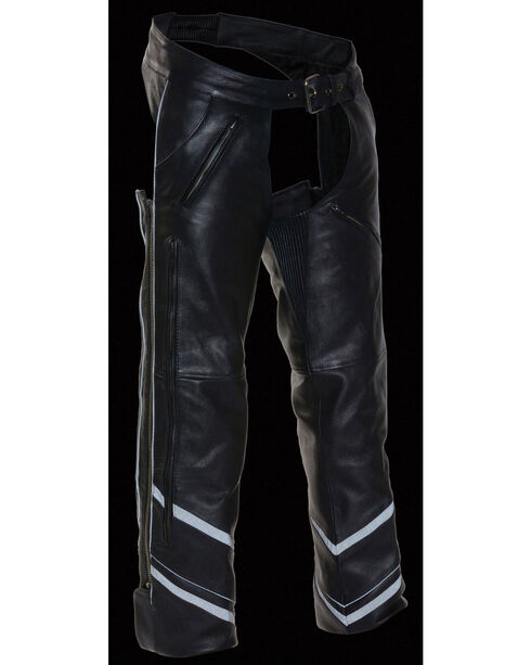 Milwaukee Leather Men's Reflective Piping Vented Chaps - 3X, Black, hi-res
