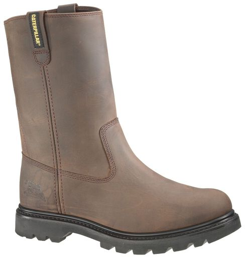 Caterpillar Revolver Pull-On Work Boots - Steel Toe, Brown, hi-res