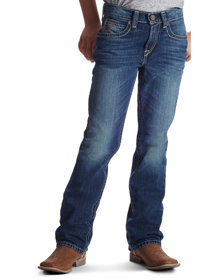 Ariat Boys' B5 Boundary Slim Fit Straight Leg Jeans, Med Blue, hi-res
