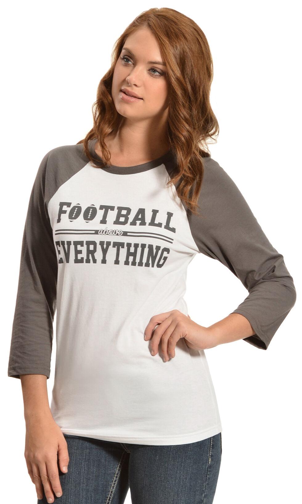 ATX Mafia Football Above Everything Baseball Tee, Grey, hi-res