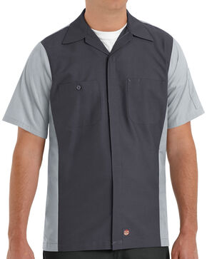 Red Kap Men's Crew Short Sleeve Shirt , Charcoal Grey, hi-res