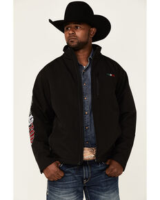 Resistol Men's Black Mexico Flag Logo Sleeve Zip-Front Softshell Jacket , Black, hi-res