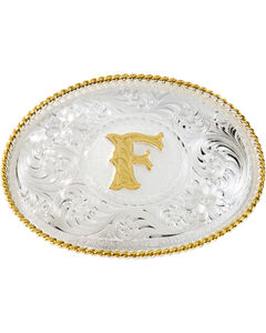 "Montana Silversmiths Initial ""F"" Buckle, Silver, hi-res"