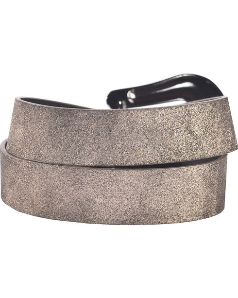 Shyanne Women's Silver Shimmer Belt, Black, hi-res