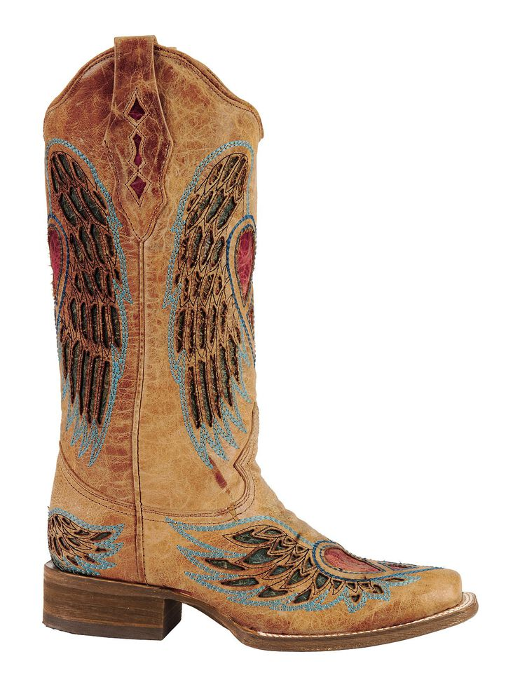 Corral Distressed Heart and Wing Inlay Cowgirl Boots - Square Toe, Saddle Tan, hi-res