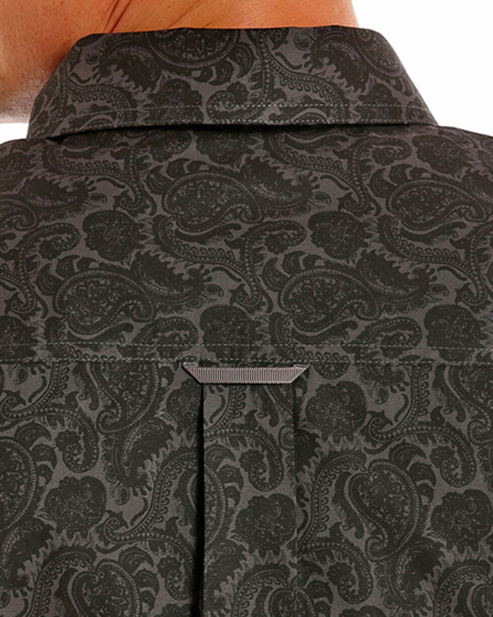 Tuf Cooper Performance Men's Black Paisley Print Shirt , Black, hi-res