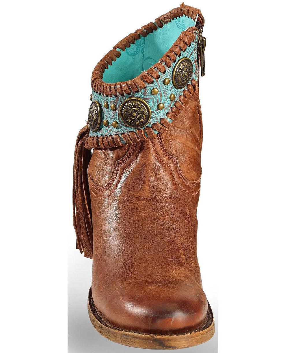 Corral Women's Turquoise Fringe Booties - Round Toe, Cognac, hi-res