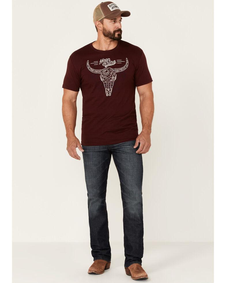 Moonshine Spirit Men's Burgundy Bison Scene Graphic Short Sleeve T-Shirt , Burgundy, hi-res