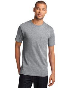 Port & Company Men's Athletic Grey Essential Solid Pocket Short Sleeve Work T-Shirt, Grey, hi-res