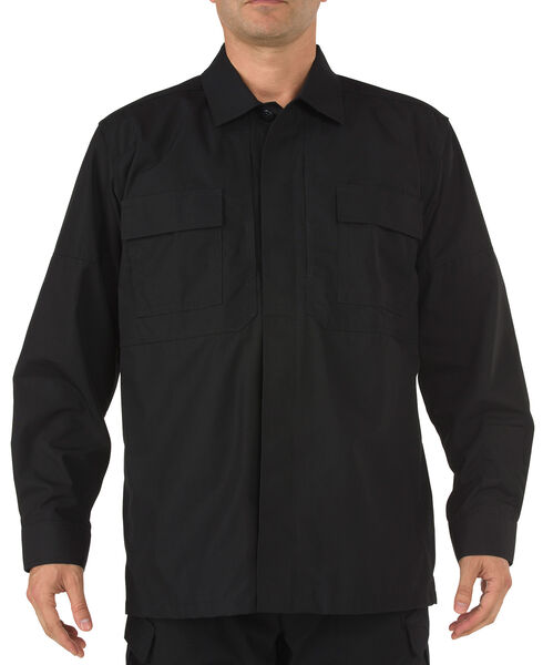 5.11 Tactical Ripstop TDU Long Sleeve Shirt, Black, hi-res