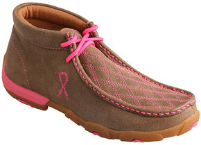 "Twisted X Women's ""Tough Enough to Wear Pink"" Lace-Up Driving Mocs , Brown, hi-res"