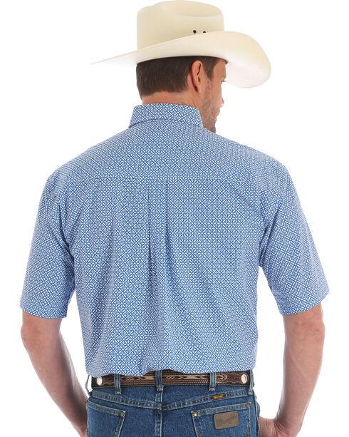 Wrangler George Strait Men's Geo Diamond Short Sleeve Button Down Shirt, Blue, hi-res